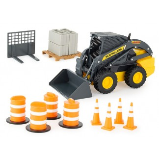 116-new-holland-big-farm-skid-steer-set-with-barrels-and-cones